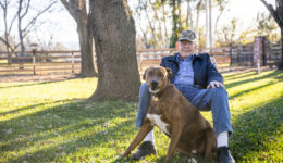 Portrait of a Senior Veteran with his Dog